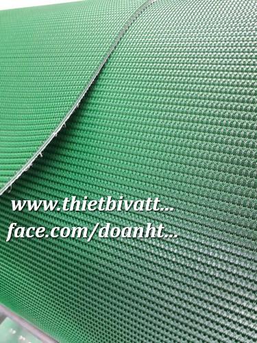 Băng Tải Mặt Gai PVC Xanh, một mặt Dây Curoa Răng Màu trắng PU